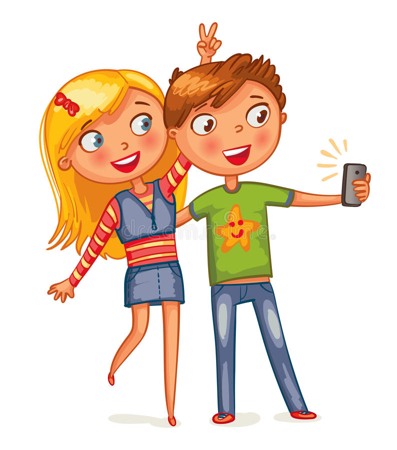 Boy and girl posing together stock illustration