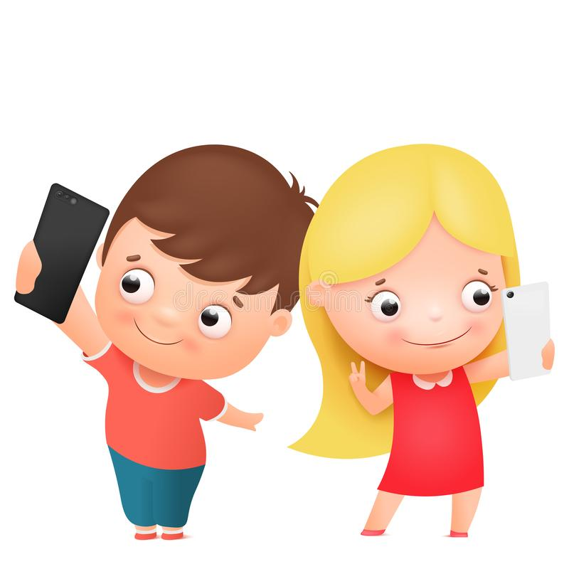 Boy and girl posing together and making selfie. Funny cartoon children character. Vector illustration. Isolated on white background stock illustration
