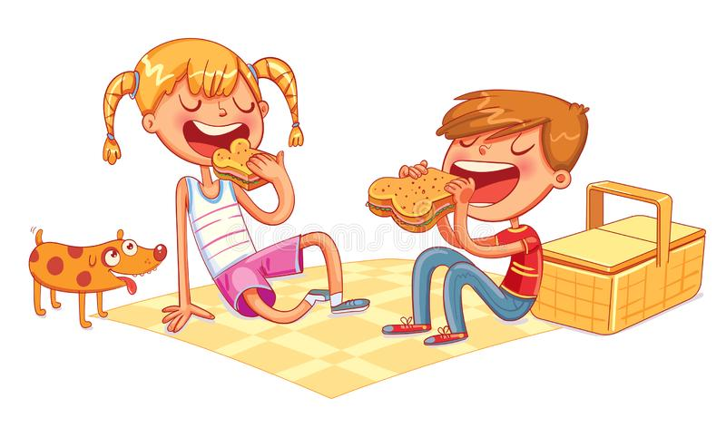 Boy and girl with puppy eating sandwiches on picnic. Funny cartoon colorful character. Vector illustration royalty free illustration