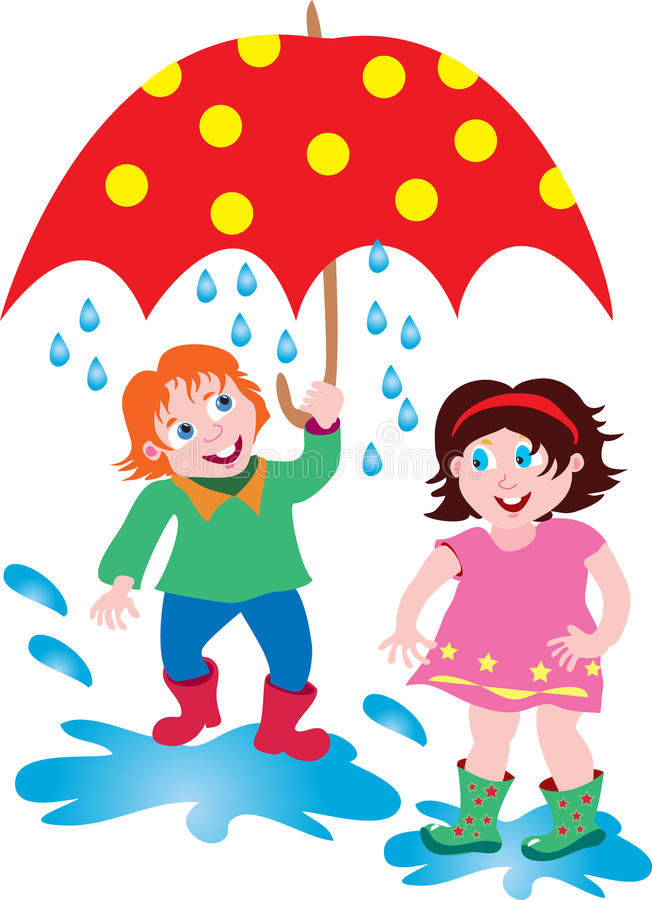 a boy and girl in the rain with an umbrella stock vector