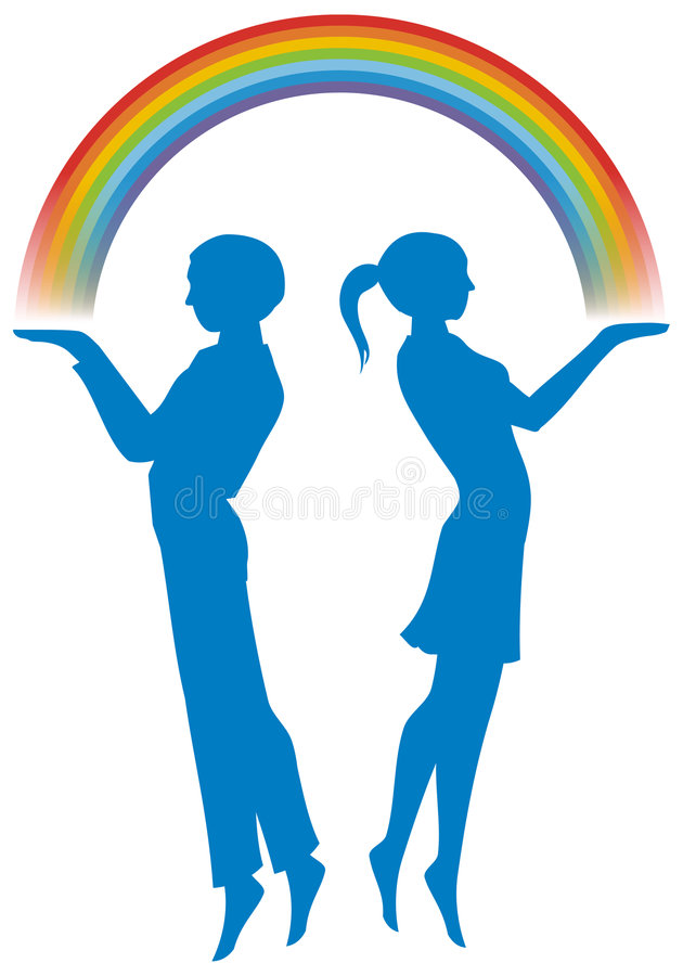 Boy and girl with rainbow. Vector illustration of a boy and girl are holding a rainbow stock illustration