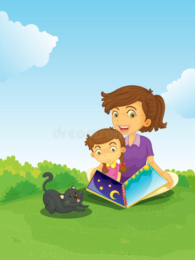 A boy and girl reading book stock illustration