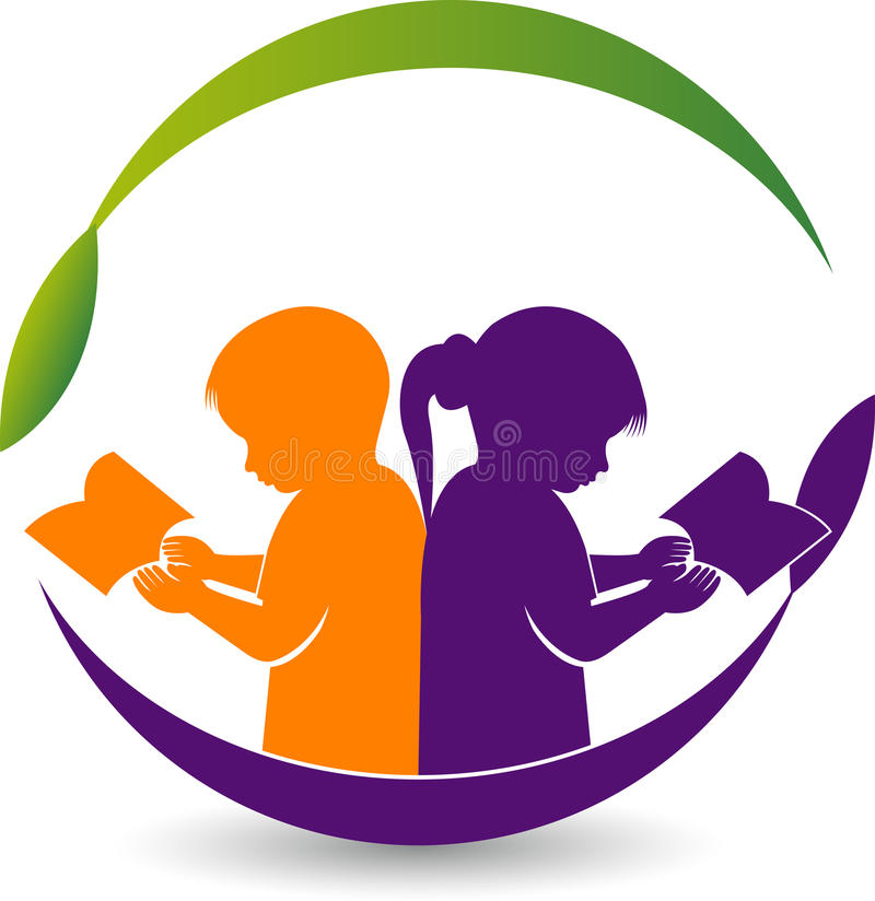 Boy and girl reading book logo vector illustration