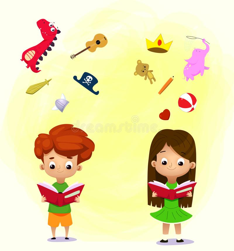 Boy and girl reading a book and objects flying out royalty free illustration