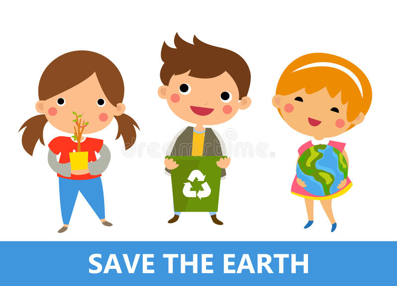 Boy and girl recycling vector illustration