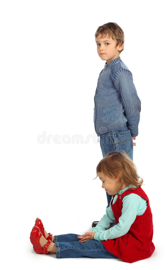 Boy with girl represent letter J stock photo