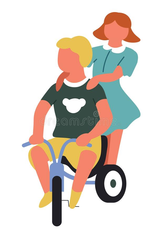 Boy and girl riding bicycle children playing games. Children playing games boy and girl riding bicycle vector transport or vehicle sister and brother friends stock illustration