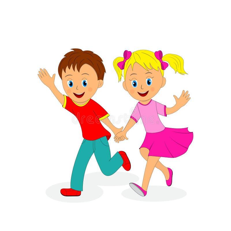 Boy and girl running holding hands vector illustration
