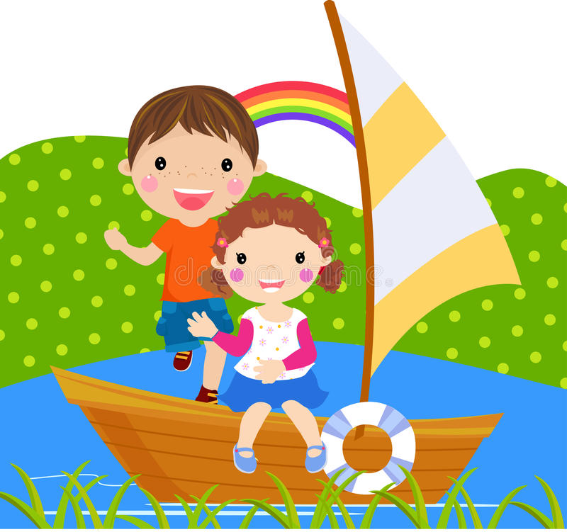 Download Boy And Girl Sailing On Lake Stock Vector - Image: 18520982