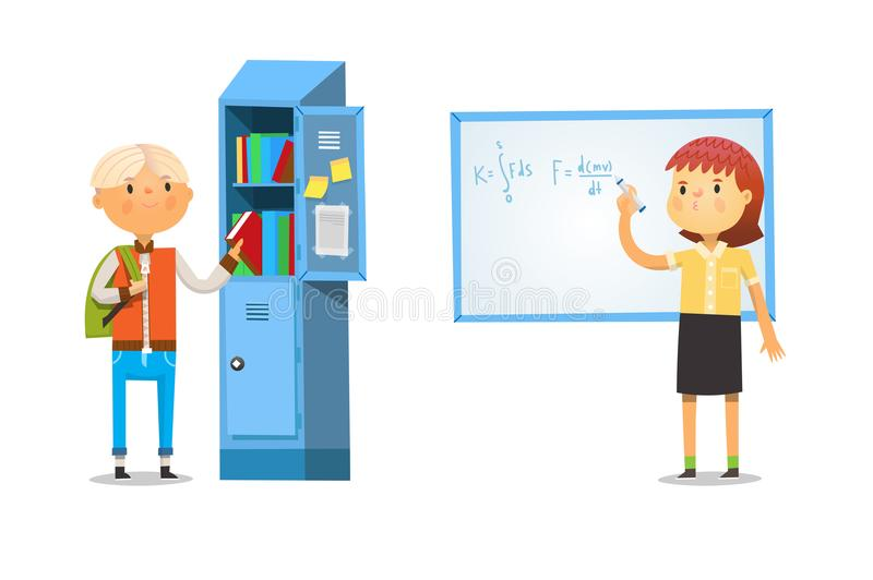 Boy and girl at school. Taking books out of the locker and writing formula on blackboard stock illustration