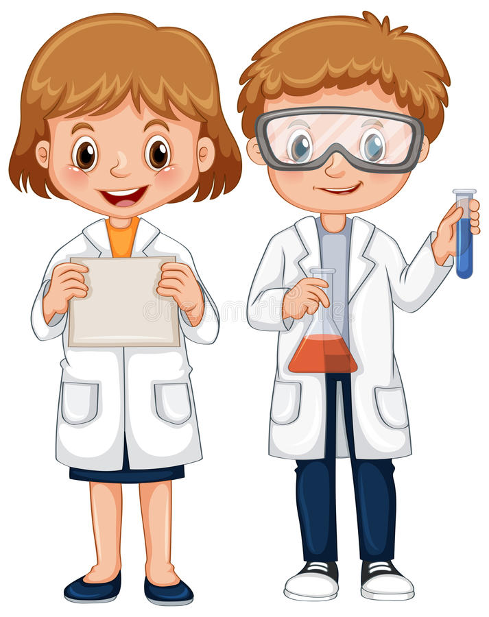 Boy and girl in science gown royalty free illustration