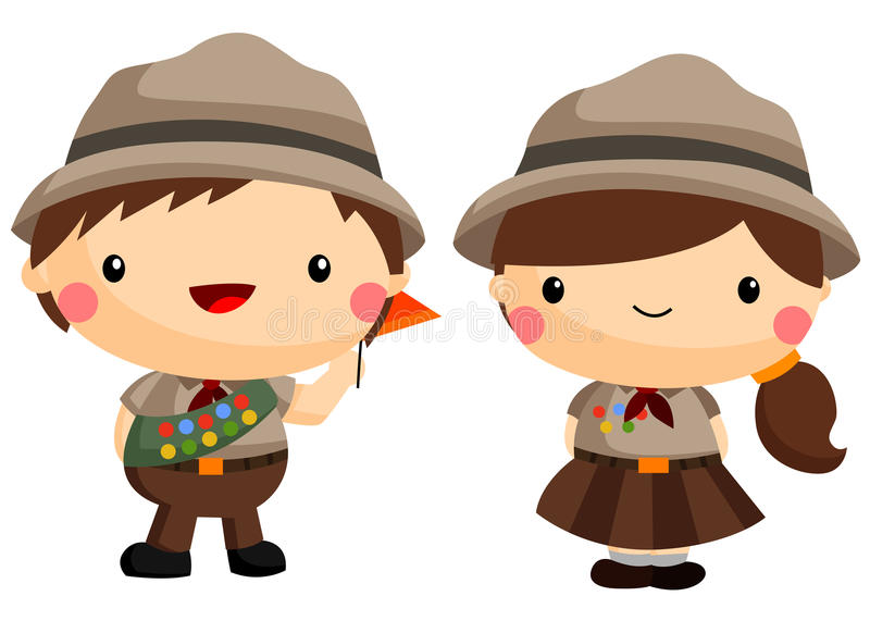 Boy and girl scout vector illustration
