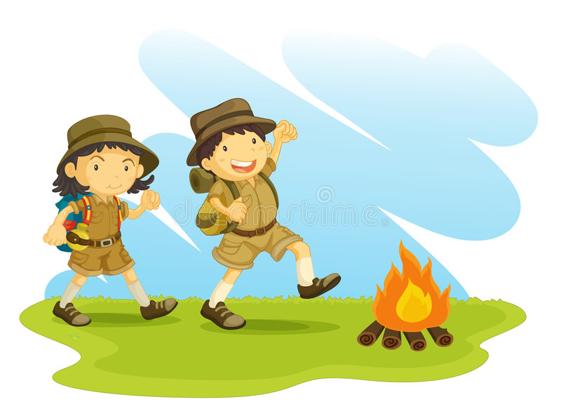 Boy and girl scout royalty free illustration