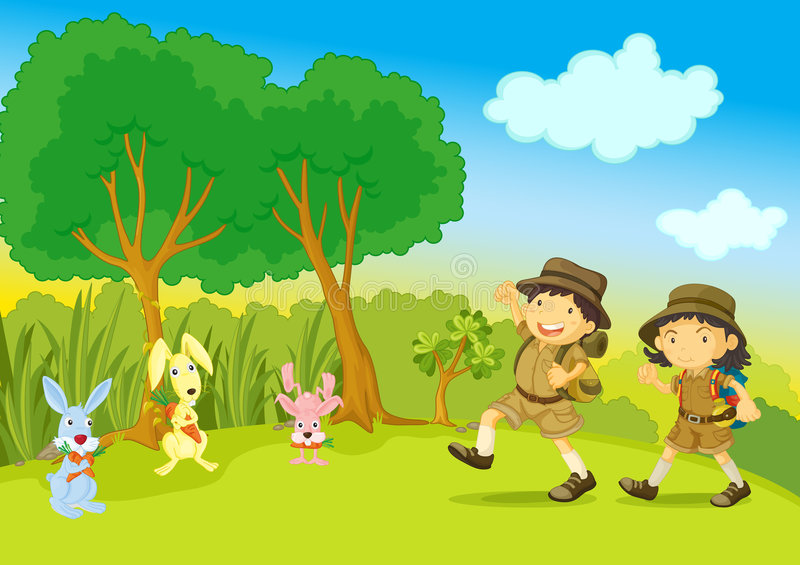 Download Boy and girl scout stock vector. Image of sketch, grass - 8847906