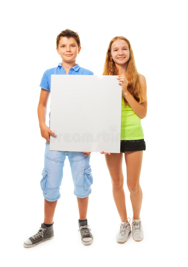 Download Boy and girl with sign stock image. Image of copy, boys - 33209891