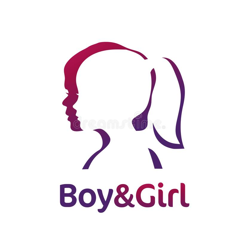 Boy And Girl Silhouette Color Logo Stock Vector Illustration Of