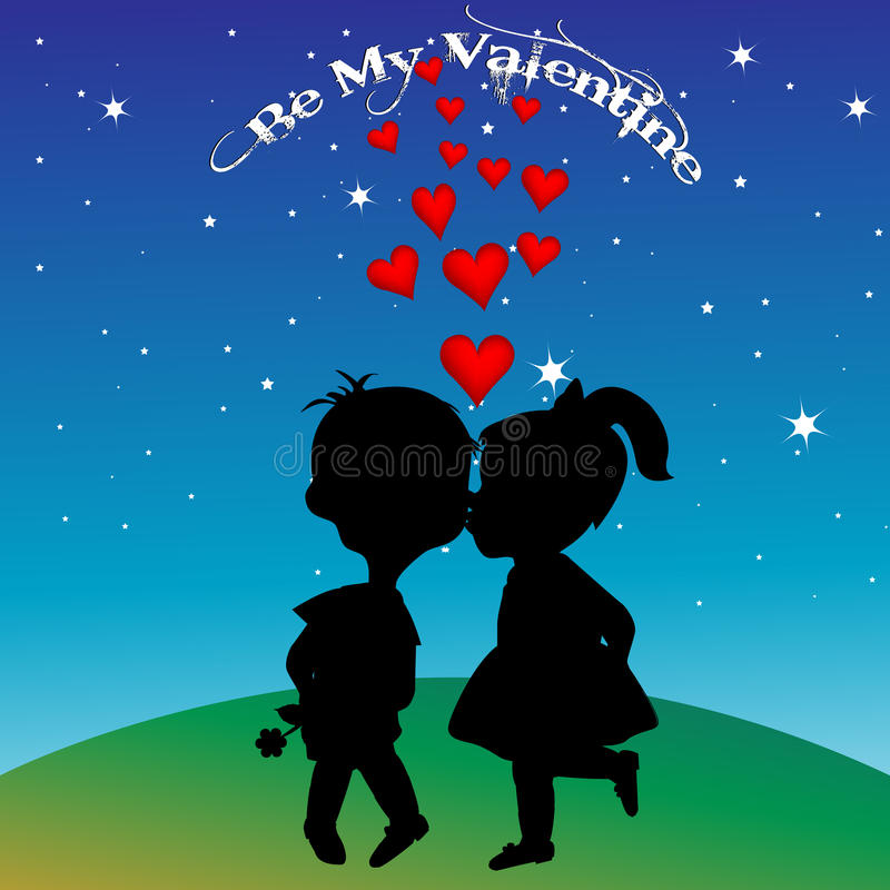 Boy and girl silhouettes kissing. Greeting card with boy and girl silhouettes kissing royalty free illustration