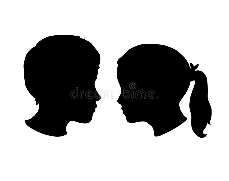Boy and Girl silhouettes on a white background. Black face profile in vector vector illustration