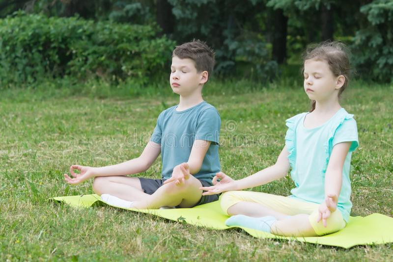 Boy and girl are sitting in a lotus position on a green rug in the park royalty free stock image