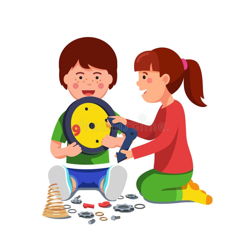 Boy and girl sitting playing with mechanical clock vector illustration