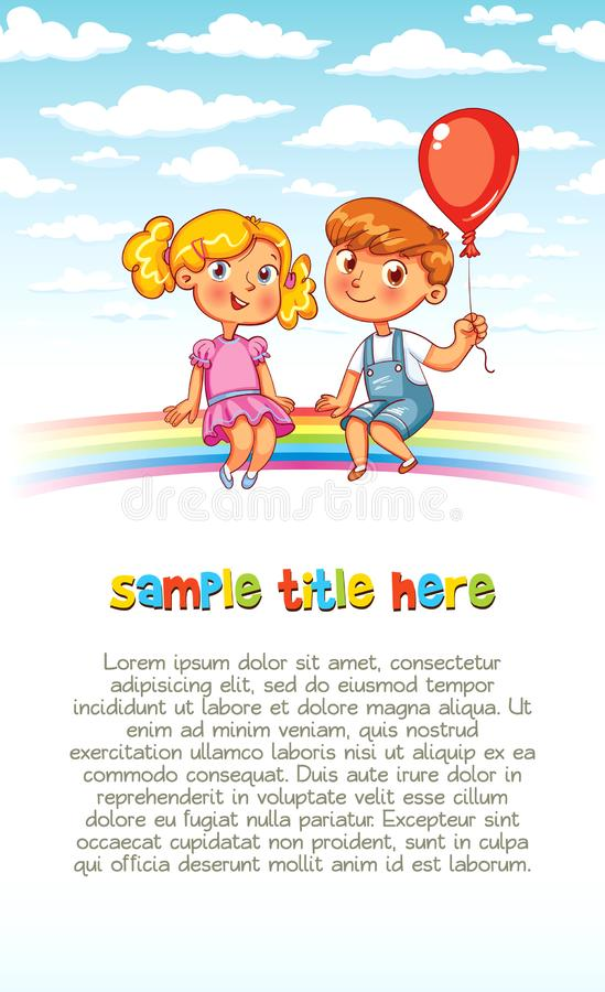 Boy and girl are sitting on the rainbow. Playground. Riding on a rainbow. Colorful template for advertising brochure. Ready for your message. Funny cartoon royalty free illustration