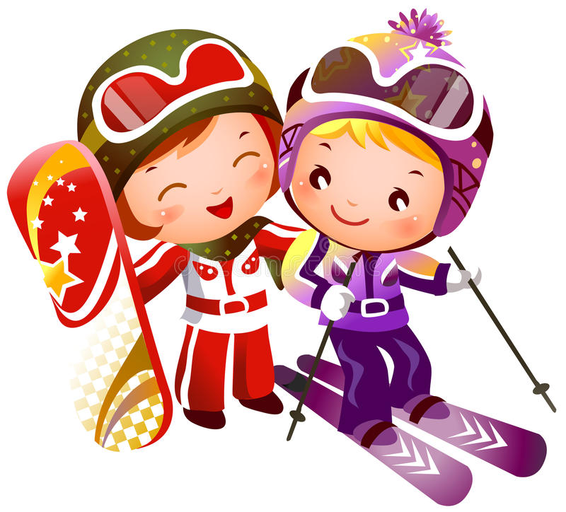 Download Boy And Girl Skiing Royalty Free Stock Images - Image: 25235229
