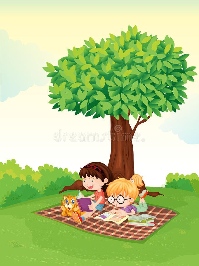 A boy and girl studying under tree royalty free illustration