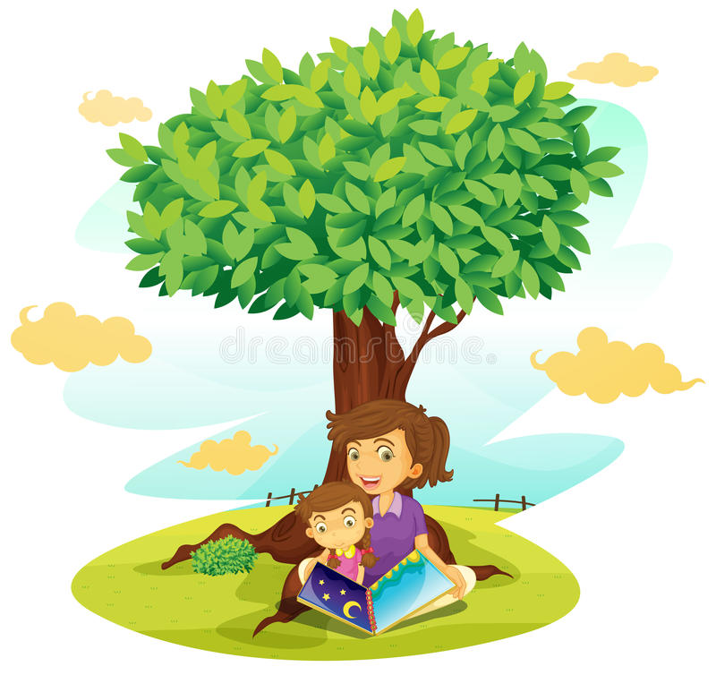 A boy and girl studying under tree vector illustration