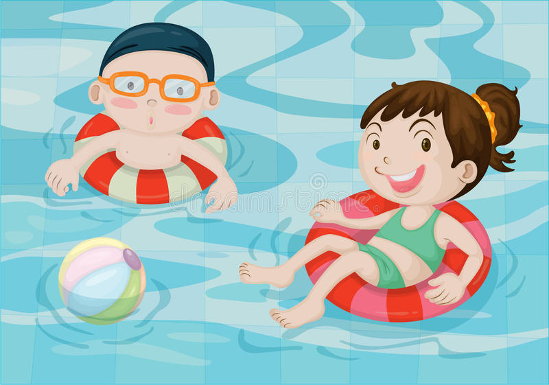 Download Boy And Girl In Swimming Pool Stock Vector - Image: 14765846