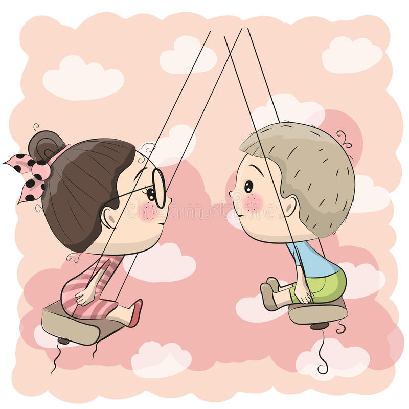 Boy and Girl on the swing royalty free illustration