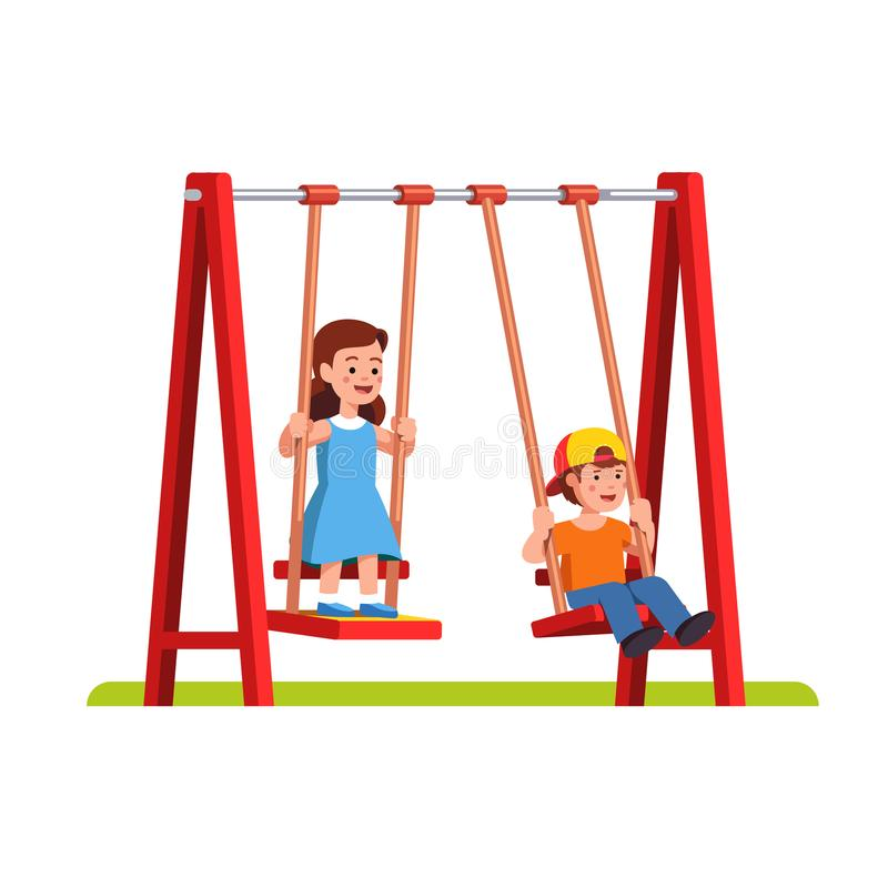 Boy and girl swinging on swing on playground. Happy little boy and girl swinging on swing in public park or kindergarten playground. School or preschool kids royalty free illustration