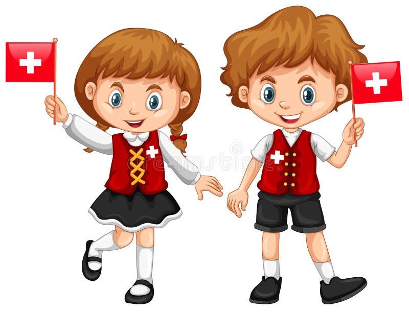 Boy and girl with Switzerland flag stock illustration