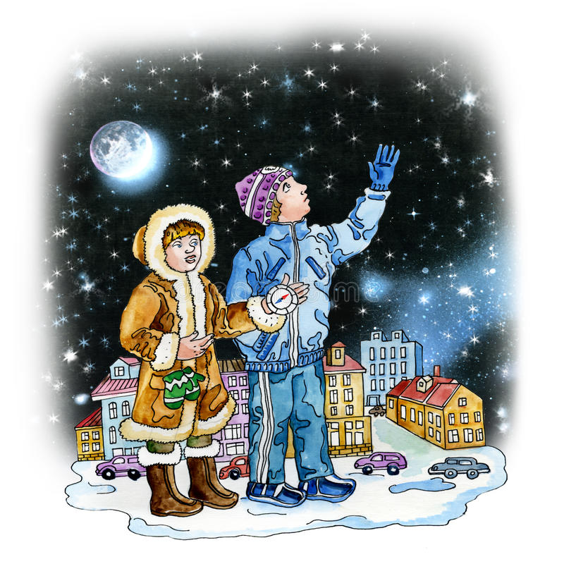 Download Boy And Girl Teenagers Watching Stars Stock Illustration - Image: 34161311