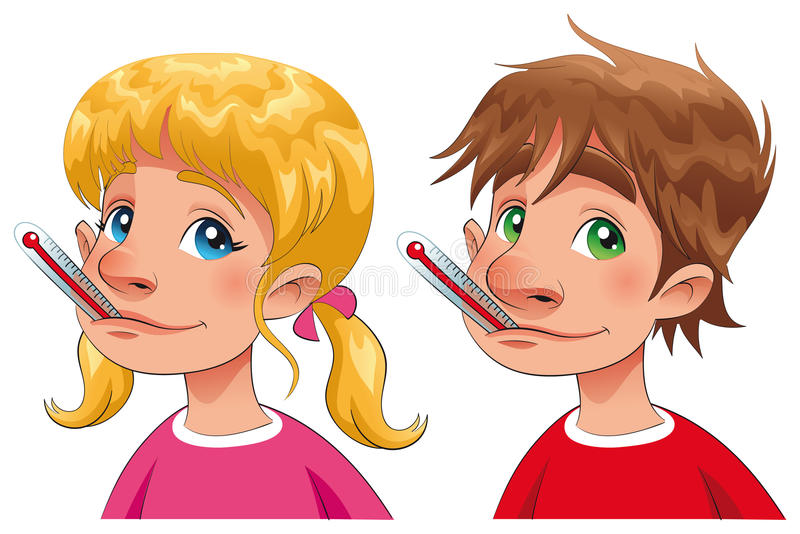 Download Boy And Girl With Thermometer. Stock Vector - Image: 16290509