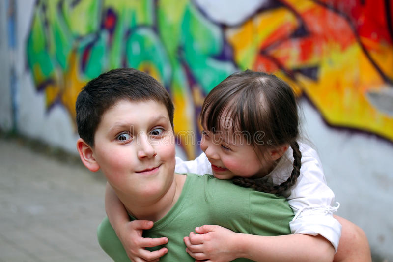 Boy and girl together royalty free stock images