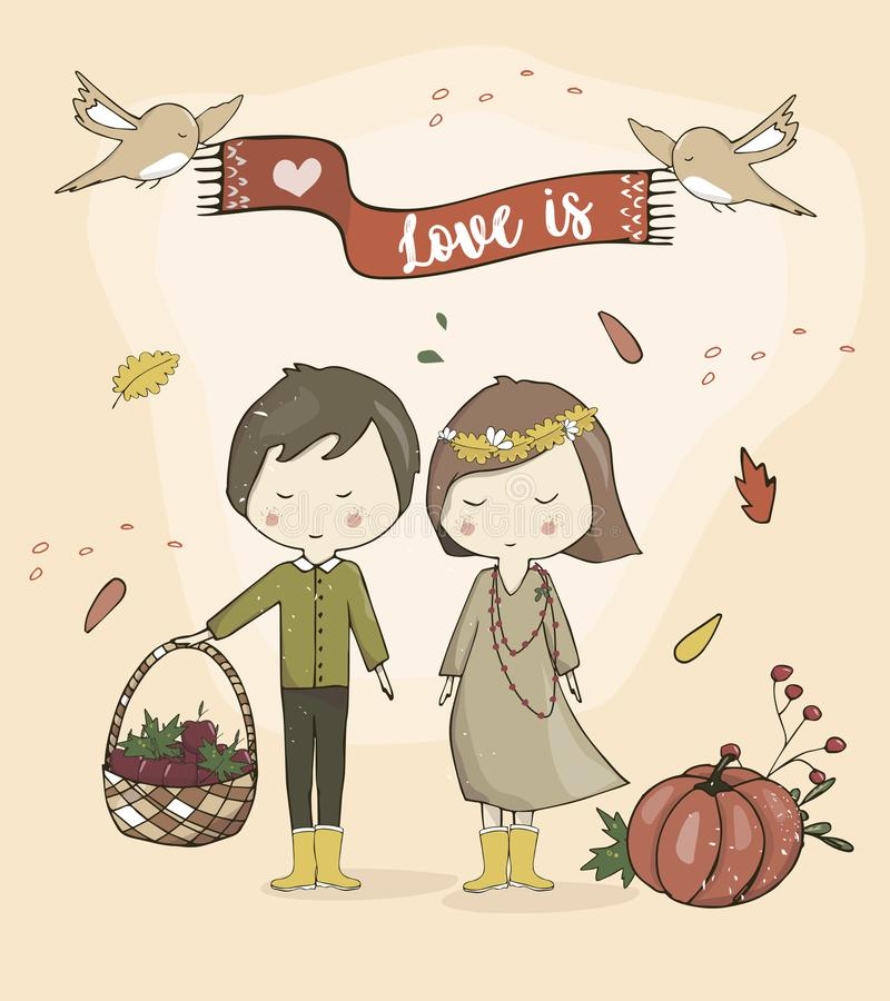 Boy and Girl together love autumn mood cute cartoon couple stand and smile to you vector illustration