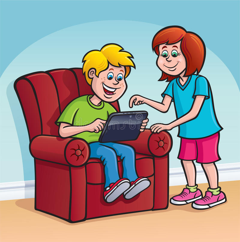 Boy and girl using a touchscreen digital tablet stock for Sitting easy chairs