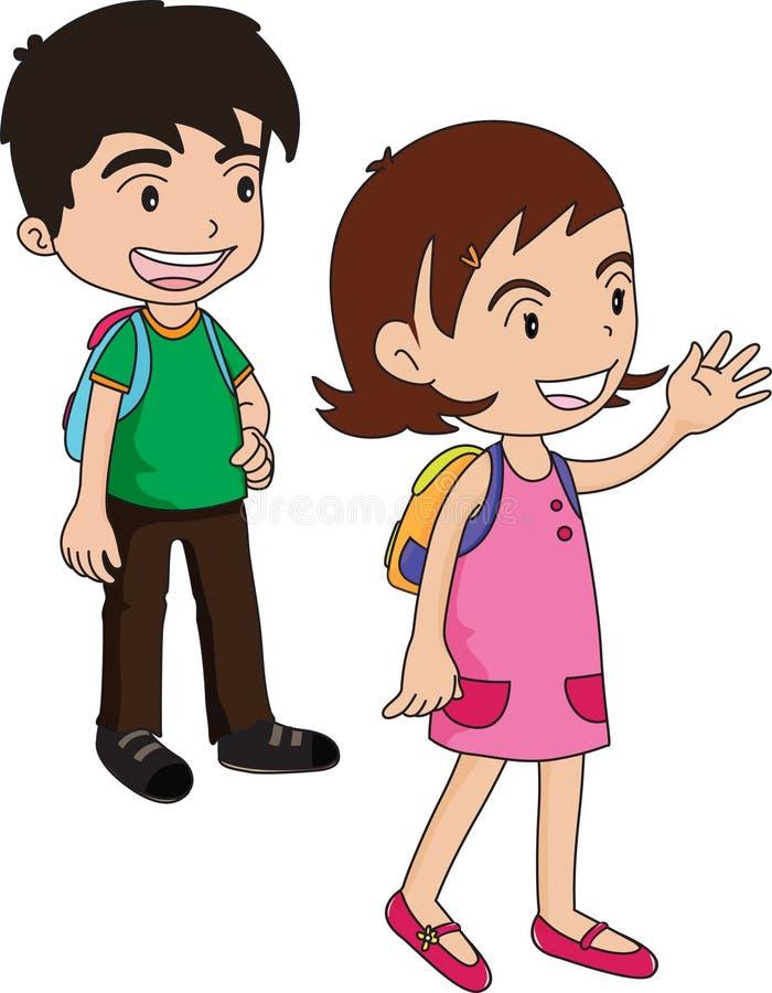 Download Boy and girl waiting stock illustration. Illustration of pupils - 7023705