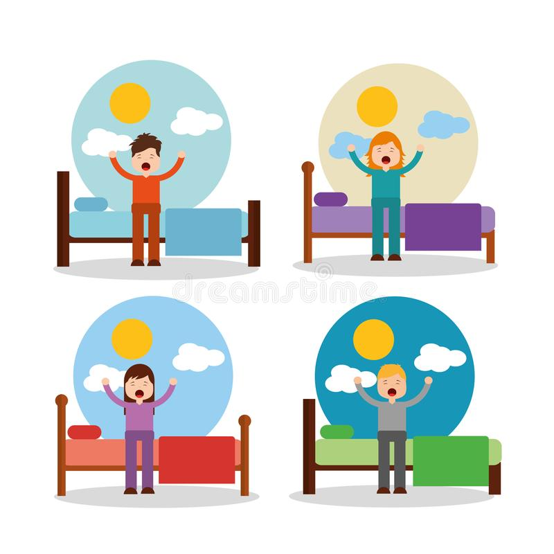 Boy and girl waking up in bed stretching sunny day royalty free illustration