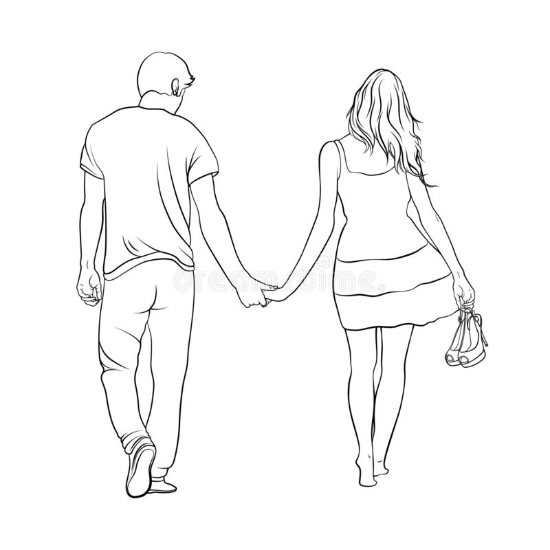 Boy and girl are walking hand in hand. Love Story. Line. Contour. Vector illustration vector illustration