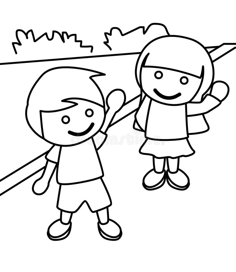 Boy And Girl Waving Coloring Page Stock Illustration - Illustration ...