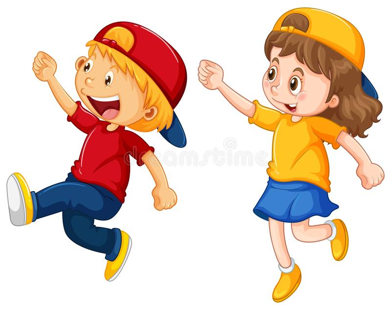 Boy and girl wearing caps stock illustration