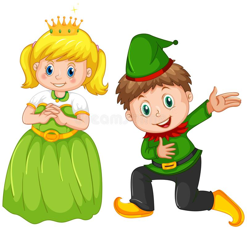 Boy and girl wearing costume stock illustration