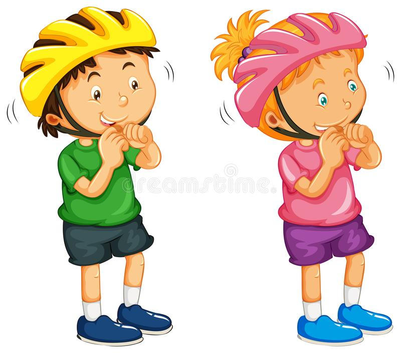 Boy and girl wearing helmet royalty free illustration