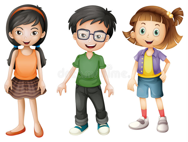 A boy and girls stock illustration