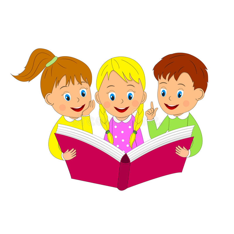 Boy And Girls Read Book Stock Vector Illustration Of School