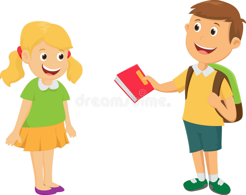 Boy give a book to friend stock image