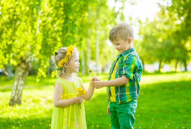 Boy gives a flower girl in the park summer day.  stock photos