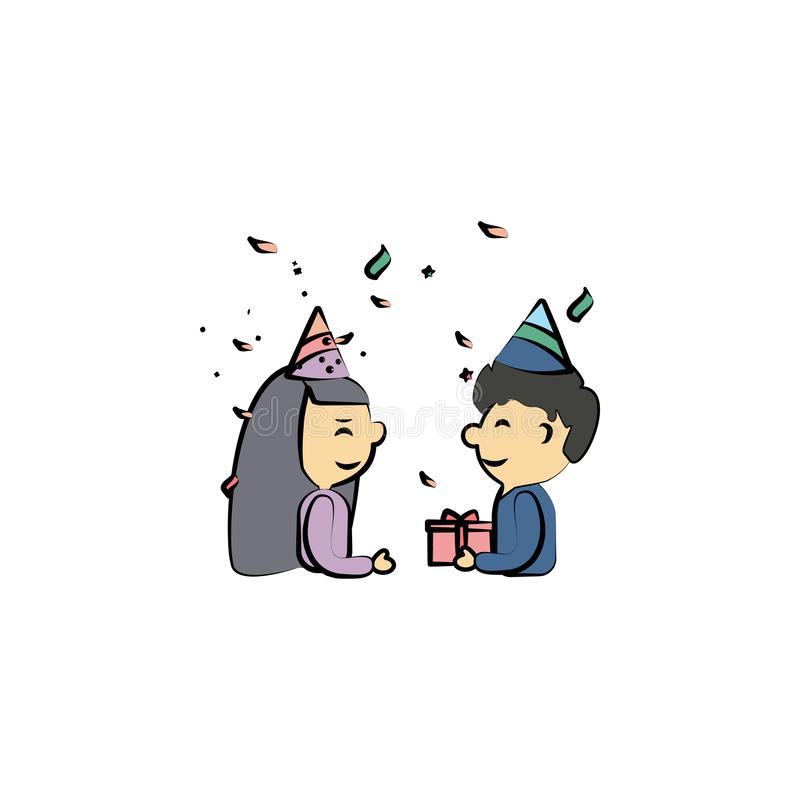 boy gives gift to girl colored icon. Element of birthday icon for mobile concept and web apps. Color boy gives gift to girl icon c vector illustration