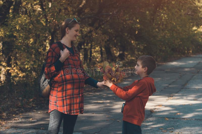 Boy gives his pregnant mother bouquet of yellow leaves. Autumn park on the background stock image